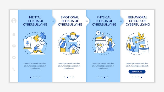 Cyberharassment consequences onboarding vector template. responsive mobile website with icons. web page walkthrough 4 step screens. mental, behavioral effects color concept with linear illustrations