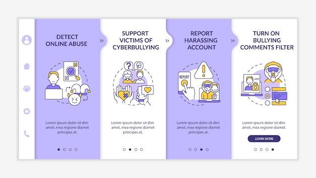 Cyberharassment prevention steps onboarding vector template. responsive mobile website with icons. web page walkthrough 4 step screens. detecting online abuse color concept with linear illustrations