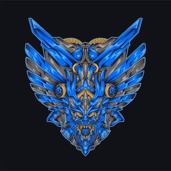 サイバーパンクブルードラゴンウィングメカイラストロボットをテーマにしたブルーウィングドドラゴンバッジシャツのデザイン