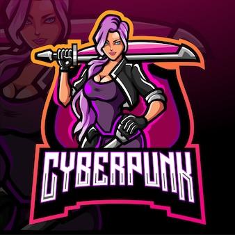 Cyberpunk Esport 로고 마스코트 디자인 프리미엄 벡터
