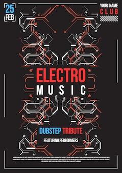 사이버 펑크 미래 포스터. 레트로 미래 포스터 템플릿입니다. 전자 음악 레이아웃. 현대 클럽 파티 전단지.