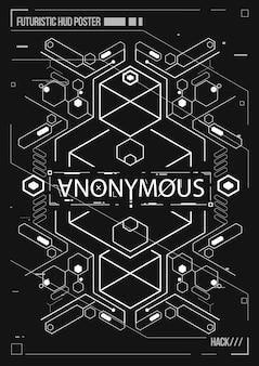 사이버 펑크 미래 포스터. 레트로 미래 포스터 템플릿입니다. 전자 음악 레이아웃.