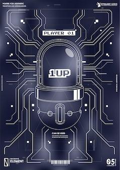 サイバーパンクの未来的なポスター。 hud要素を持つtechabstractポスターテンプレート。