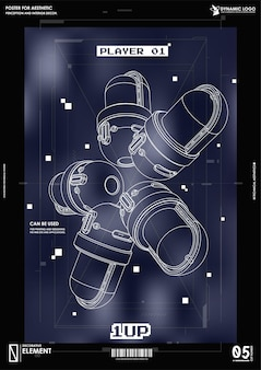 Cyberpunk futuristic poster. tech abstract poster template with hud elements.