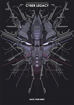 로봇 머리와 cyberpunk 미래 포스터입니다.