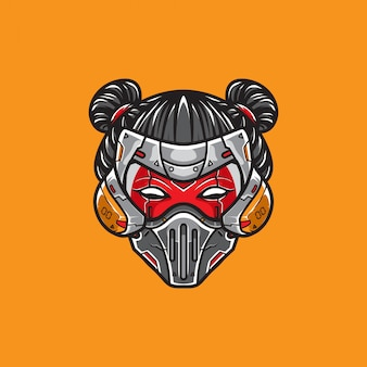 Cyberpunk geisha head shot logo vector template
