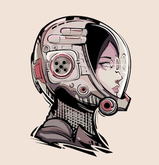 Киберпанк девушка-космонавт в футуристическом шлеме