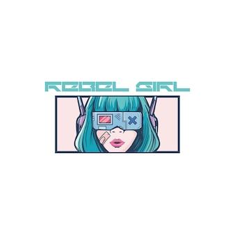 Cyberpunk girl head future illustration