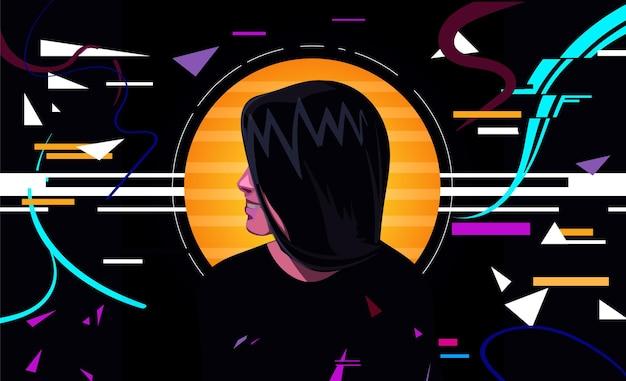 글리치 효과 일러스트와 함께 사이버 펑크 소녀