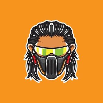 Cyberpunk head logo, humanoid robot,  template