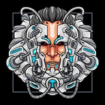 サイバーパンクヘッドロボットマスコットeスポーツロゴデザイン