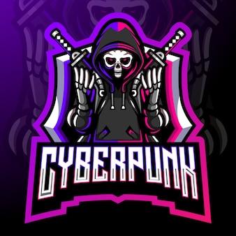 Киберпанк-талисман. киберспорт дизайн логотипа