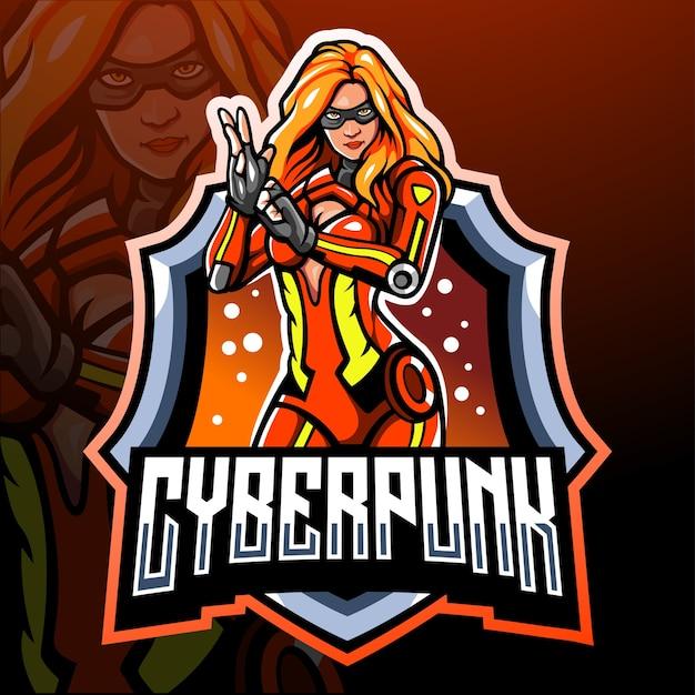 Киберпанк-талисман. киберспорт логотип