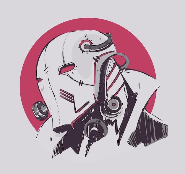Киберпанк в маске киборг иллюстрации