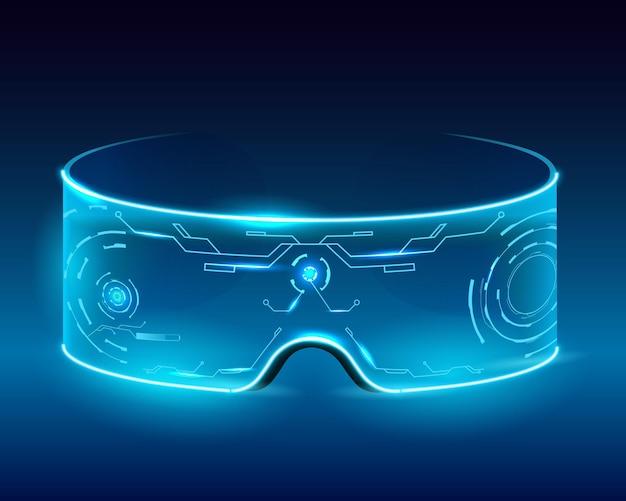 Киберпанк неоновые очки Premium векторы