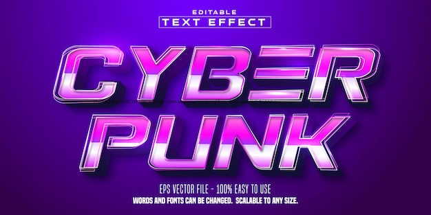 Cyberpunk 텍스트, 사이버 기술 스타일 편집 가능한 텍스트 효과