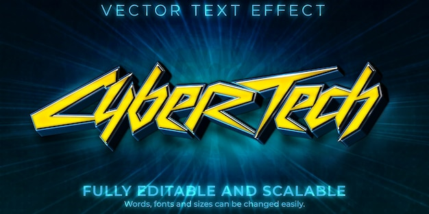 Cyberpunk text effect, editable fiction game text style