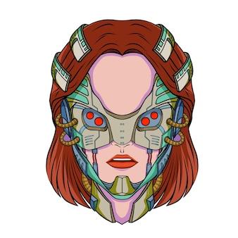 未来的なスタイルのサイバーパンクな女性の顔