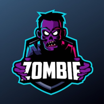 Cyberpunk zombie mascot for sports and esports logo isolated on dark background