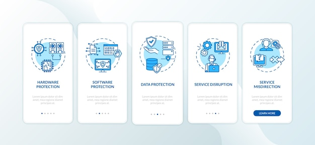 Компоненты кибербезопасности на экране страницы мобильного приложения с концепциями