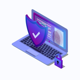 Cybersecurity isometric concept illustration