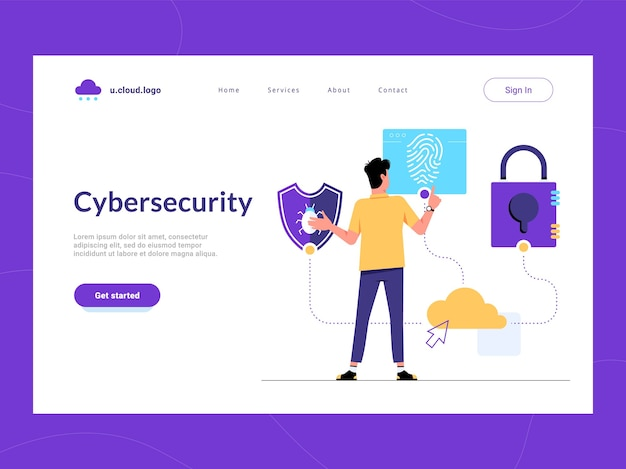 Cybersecurity landing page first screen. man looking for malware protection, user verification and information security solution for business. risk reduce and cyber attacks defense of sensitive data