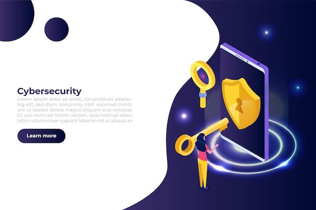 Кибербезопасность, защита сетевых безопасных данных изометрической концепции. шаблоны дизайна веб-страниц.