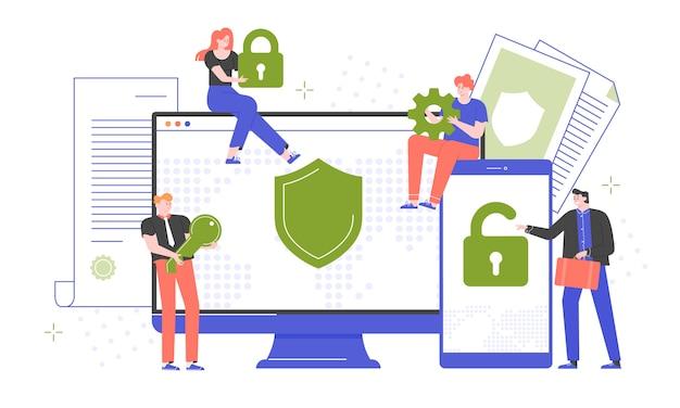 サイバーセキュリティ、安全なパスワード、サイト登録。ウイルス対策ソフトウェアによるコンピューターとスマートフォンの保護。ロック、キー、ギアを持っている人。デバイス画面。平らな。