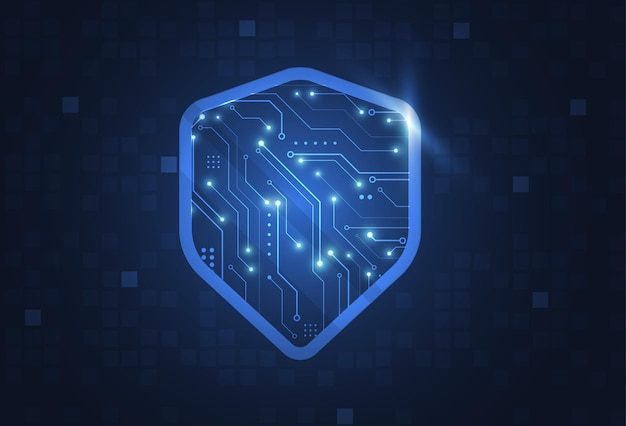 Cybersecurity shield and information or network protection.