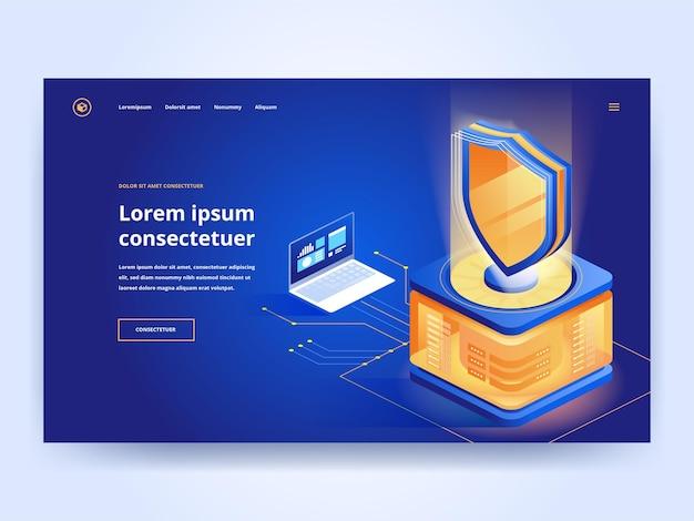 Синий шаблон целевой страницы программного обеспечения кибербезопасности. идея пользовательского интерфейса домашней страницы веб-сайта для защиты от вирусов и вредоносных программ с изометрическими векторными иллюстрациями. безопасное онлайн-хранилище данных веб-баннер темного цвета 3d-концепция
