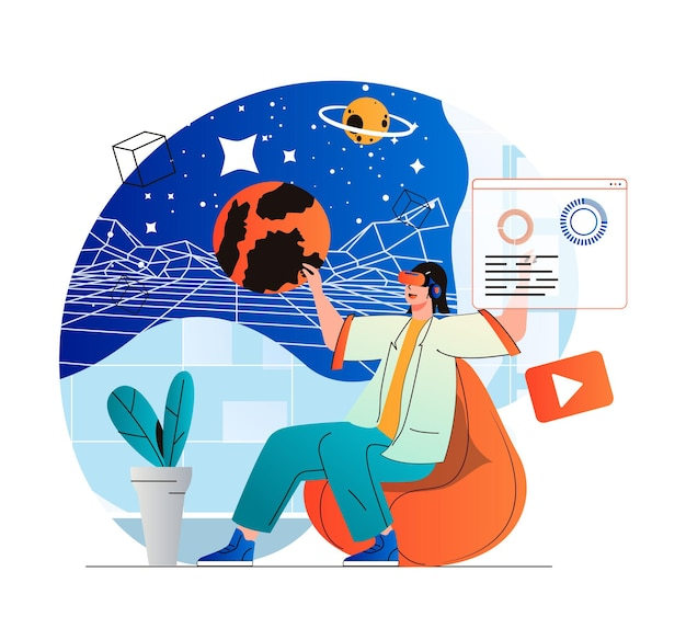 Cyberspace concept in modern flat design woman explores galaxy and planets in galaxy simulation