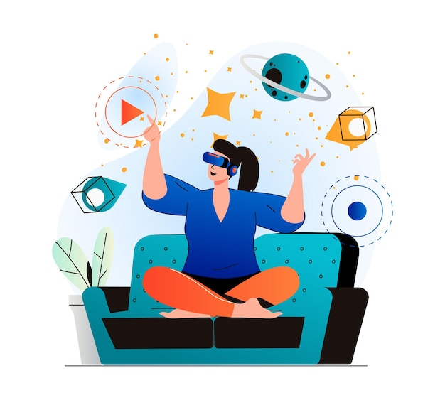 Cyberspace concept in modern flat design woman learning and touching elements of simulation