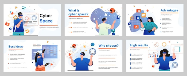 Cyberspace concept for presentation slide template people uses virtual reality glasses gaming