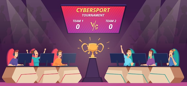 Cybersport competition. viewers watching video game match on big screen tv cybersport arena