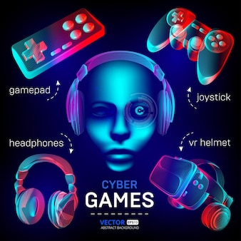 Cybersport games set - vr helmet with glasses, headphones, gamepad, joystick and robot face.