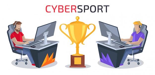 Cybersport player против игрока векторные иллюстрации
