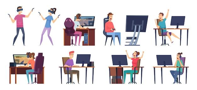 サイバースポーツ選手。ストリーミングスタジオベクトルサイバースポーツキャラクターのpc上のビデオゲームで遊ぶゲーマー。オンラインゲーマー、ゲームpc、サイバースポーツコンピューターのイラスト