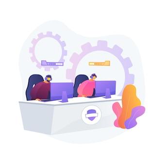 Cybersport 팀 추상적 인 개념 그림입니다. e- 게임 토너먼트, 최고의 e 스포츠 팀, 사이버 스포츠 베팅, 컴퓨터 클럽, 배틀 아레나, 컵 예선, 팀 성과