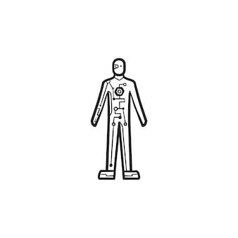 사이보그 몸 손으로 그린 개요 낙서 아이콘입니다. 로봇 산업, 생명 공학, 안드로이드 로봇 개념