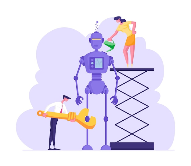 Cyborg creating process engineers or business people characters set up huge robot