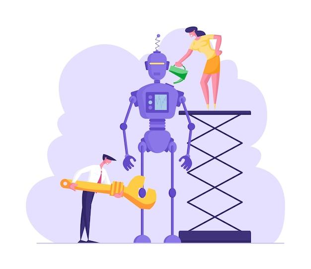 사이보그 생성 프로세스 엔지니어 또는 비즈니스맨 캐릭터가 거대한 로봇을 설정
