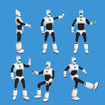 Cyborg in different poses set on blue