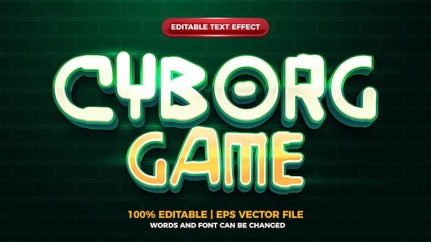 Киборг игра футуристический 3d текстовый эффект editbale