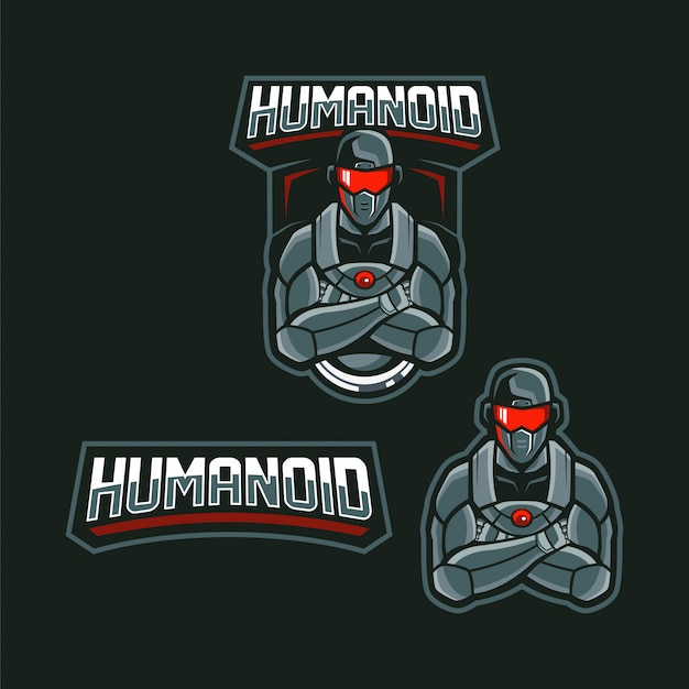 Cyborg human mascot logo