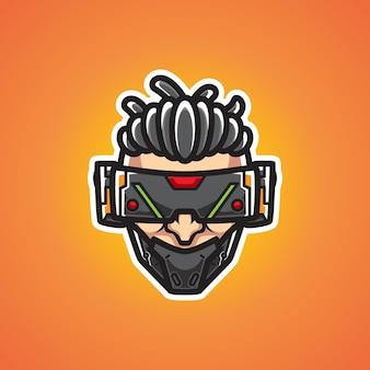 Cyborg man head mascot логотип