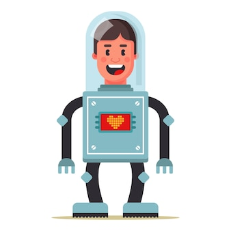 Cyborg man. head transplant job. life extension. flat character vector illustration.