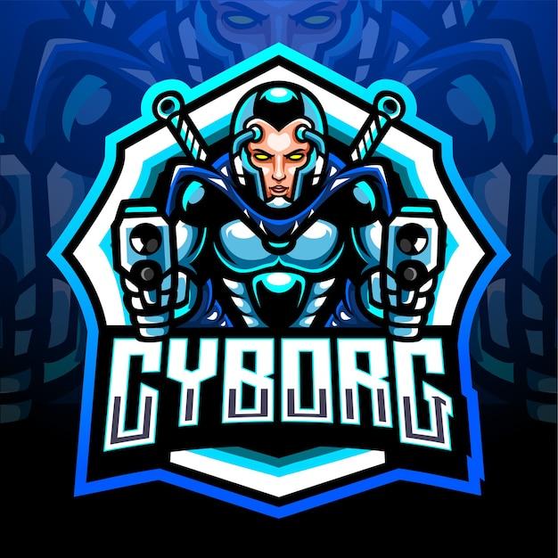 Киборг-талисман. киберспорт дизайн логотипа