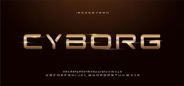 «киборг» современный блестящий золотой алфавит. футуристические шрифты типографии