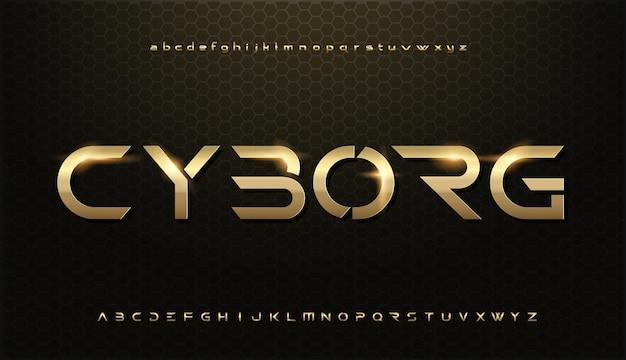 「サイボーグ」モダンな光沢のあるゴールドのアルファベット。未来的なタイポグラフィフォント