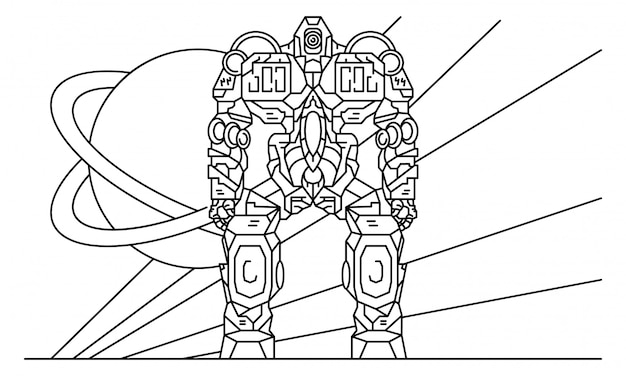 Cyborg robot-transformer concept background, outline style